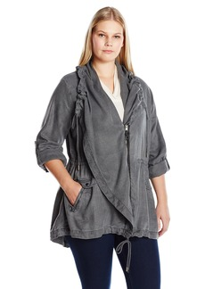 Lucky Brand Women's Plus Size Drape Utility Jacket