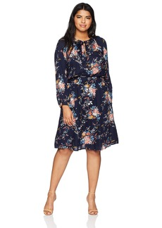 Lucky Brand Women's Plus Size Drop Waist Printed Dress  1X