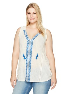 Lucky Brand Women's Plus Size Emb. Center Front Top