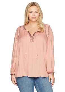 Lucky Brand Women's Plus Size Embroidered Boho Blouse