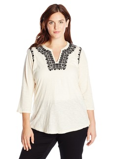 Lucky Brand Women's Plus-Size Embroidered Boho Top