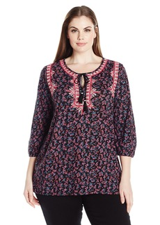 Lucky Brand Women's Plus Size Embroidered Boho Top
