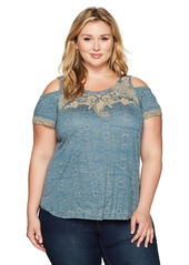 Lucky Brand Women's Plus Size Embroidered Cold Shoulder Top