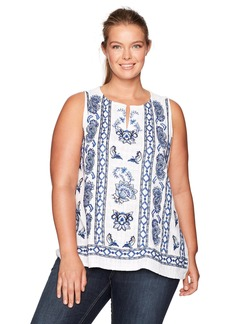 Lucky Brand Women's Plus Size Embroidered Floral Tank Top