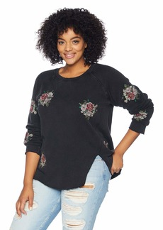 Lucky Brand Women's Plus Size Embroidered Flowers Sweatshirt Black