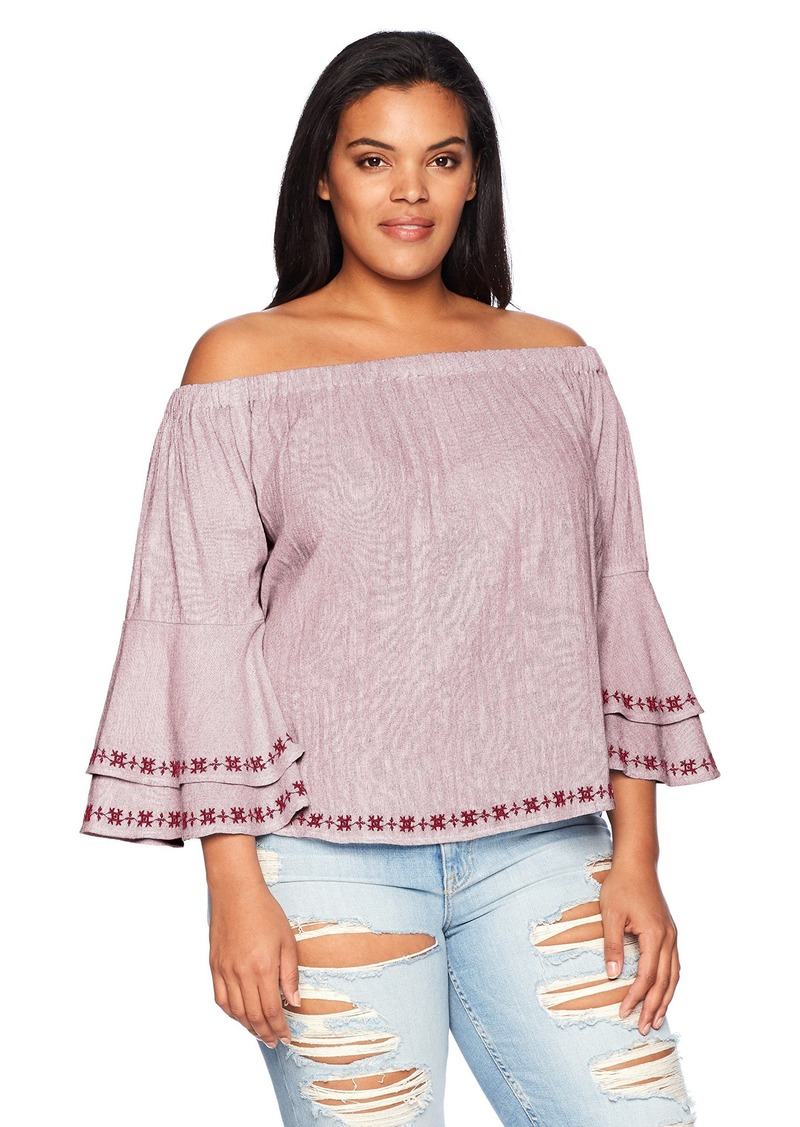Lucky Brand Women's Plus Size Embroidered Off-Shoulder TOP red Stripe