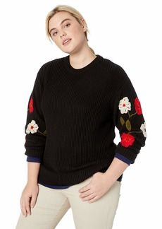 Lucky Brand Women's Plus Size Embroidered Sleeve Pullover Sweater