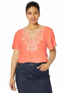 Lucky Brand Women's Plus Size Embroidered V-Neck Short Sleeve TEE