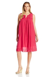 Lucky Brand Women's Plus Size Embroidered Yoke Dress