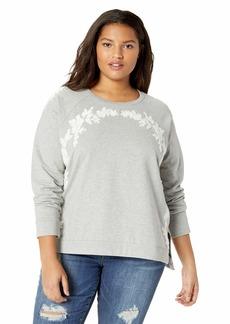 Lucky Brand Women's Plus Size Floral Chenille Sweatshirt