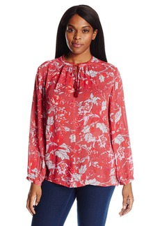 Lucky Brand Women's Plus Size Floral Fringe Neck Blouse