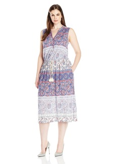 Lucky Brand Women's Plus Size Floral Mixed Print Dress  1X