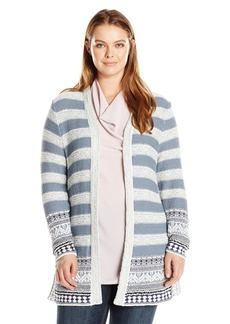 Lucky Brand Women's Plus Size Geo Border Cardigan Sweater