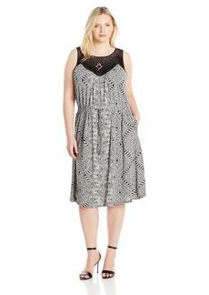 Lucky Brand Women's Plus Size Knit Macrame Dress  1X
