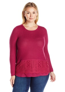 Lucky Brand Women's Plus Size Lace Mix Sweater  2X