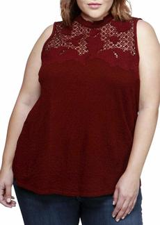 Lucky Brand Women's Plus Size Lace Mock Neck Top
