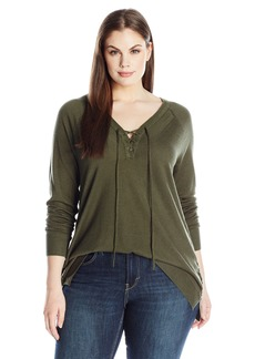 Lucky Brand Women's Plus Size Lace Up Detail Sweater