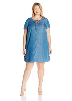 Lucky Brand Women's Plus Size Lace-up Swing Dress  1X
