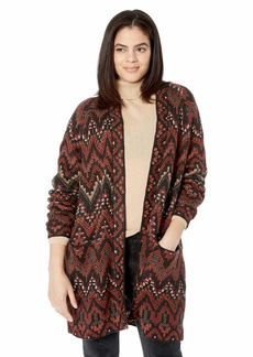 Lucky Brand Women's Plus Size Long Ikat Cardigan Sweater red/Multi
