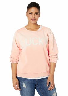 Lucky Brand Women's Plus Size Lucky Washed Pullover Sweatshirt