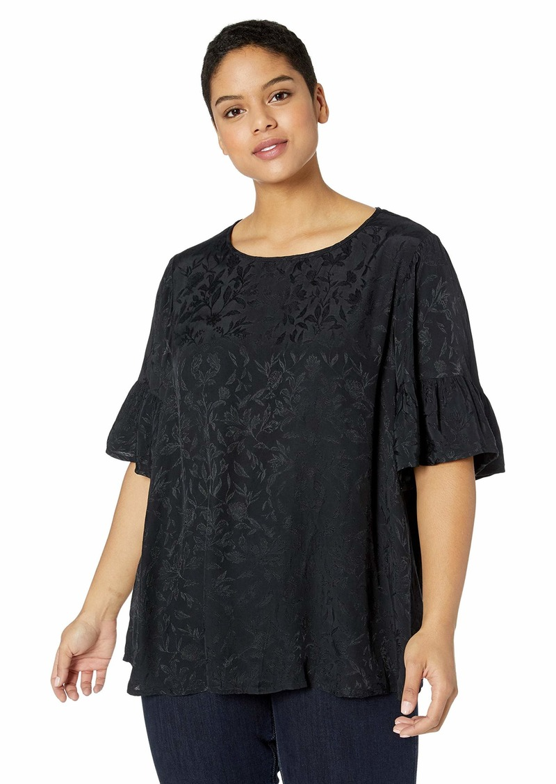 Lucky Brand Women's Plus Size Luxe Jacquard 3/4 Sleeve TOP