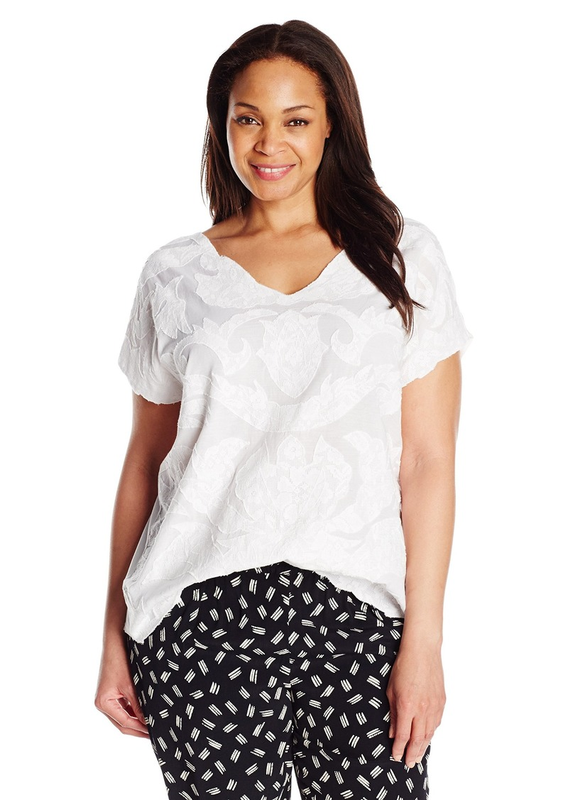 Lucky Brand Women's Plus Size Mesh-Front Top