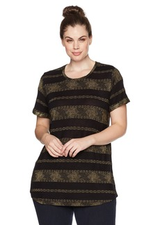Lucky Brand Women's Metallic Stripe Plus-Size Tee Black with Golden