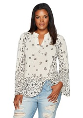 Lucky Brand Women's Plus Size Mix Geo Peasant Top