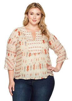Lucky Brand Women's Plus Size Mix Print Boho Top
