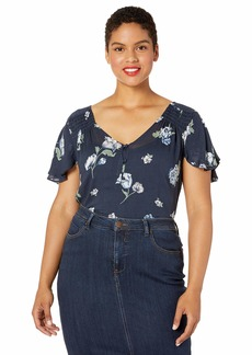 Lucky Brand Women's Plus Size Navy Printed Short Sleeve TOP Multi