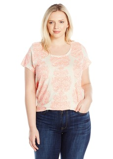 Lucky Brand Women's Plus Size Neon Woodblock Tee