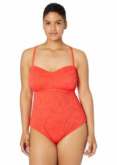 Lucky Brand Women's Plus Size One Piece Swimsuit hot Coral//Doheny Beach