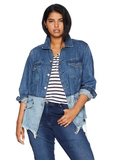 Lucky Brand Women's Plus Size Pieced Waisted Trucker Jacket