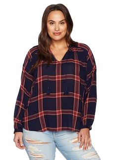 Lucky Brand Women's Plus Size Plaid Peasant Top