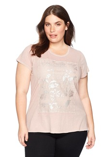 Lucky Brand Women's Printed Lace Plus-Size Tee