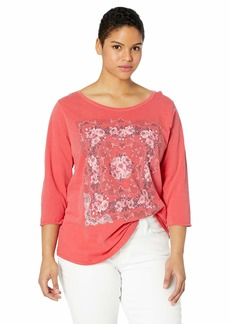 Lucky Brand Women's Plus Size RED 3/4 Sleeve Mosaic Print TEE