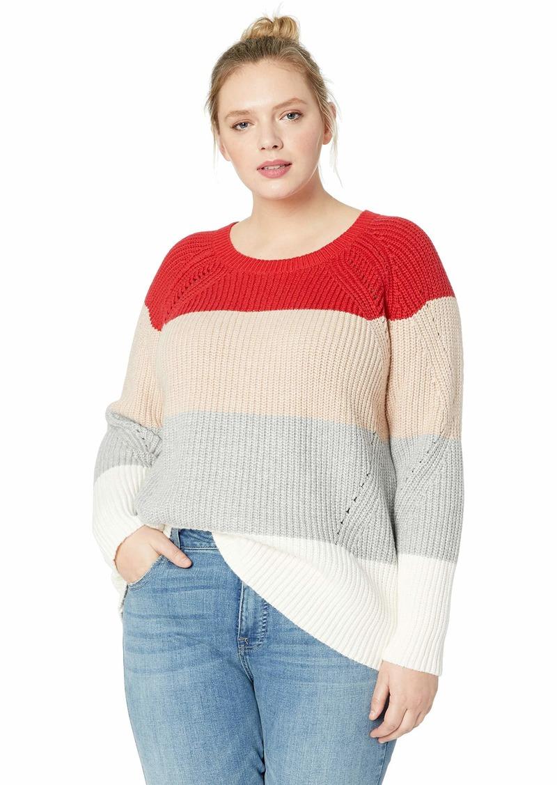 Lucky Brand Women's Plus Size Scoop Neck Pointelle Sweater