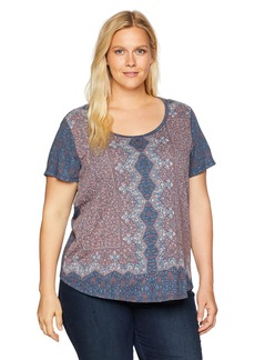 Lucky Brand Women's Plus Size Short Sleeve Allover Print TEE