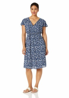 Lucky Brand Women's Plus Size Short Sleeve Blue Olivia Dress Multi 2X