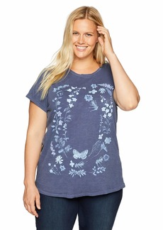 Lucky Brand Women's Plus Size Short Sleeve Floral Print Tee