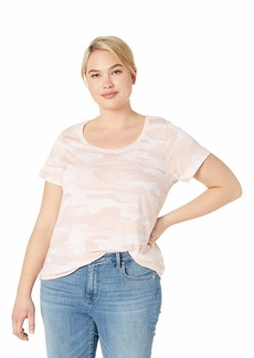 Lucky Brand Women's Plus Size Sketched Rose CAMO TEE Mellow