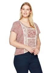 Lucky Brand Women's Plus Size Spiced Red Printed Tee