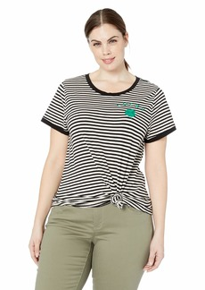 Lucky Brand Women's Plus Size ST. Patrick's Stripe TEE Black