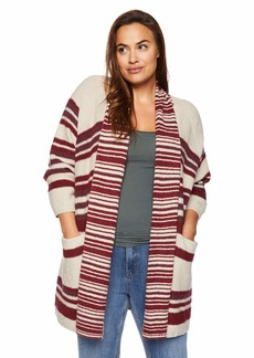 Lucky Brand Women's Plus Size Stripe Cardigan Sweater