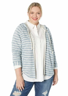 Lucky Brand Women's Plus Size Stripe Hooded Poncho Sweatshirt