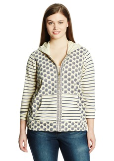 Lucky Brand Women's Plus Size Stripe Mix Hoodie