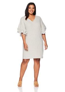 Lucky Brand Women's Plus Size Stripe Ruffle Mini Dress  1X