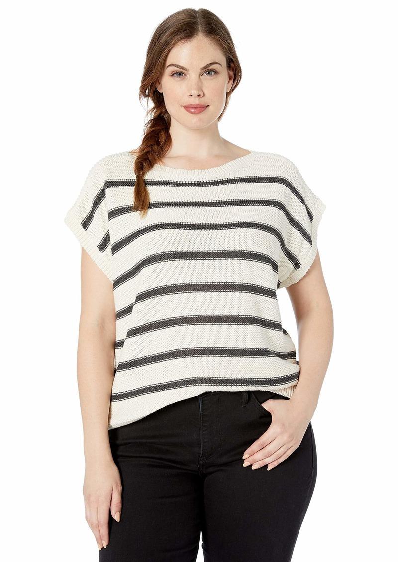 Lucky Brand Women's Plus Size Stripe Short Sleeve Pullover Sweater
