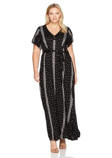 Lucky Brand Women's Plus Size Striped Ditsy Maxi Dress  1X