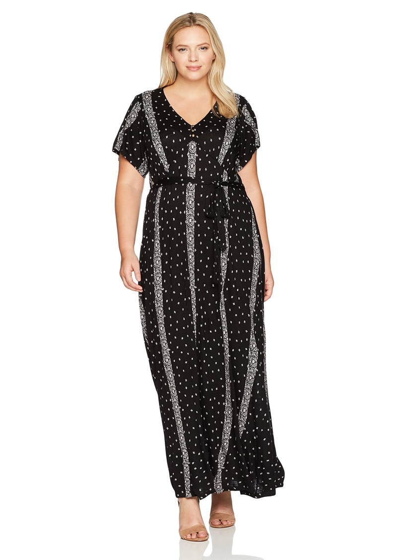 Women\'s Plus Size Striped Ditsy Maxi Dress 2X